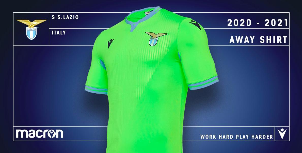 """Lazio, ecco la nuova maglia """"away"""" 2020/21: è rivoluzione con il verde fluo  (FOTO) -"""